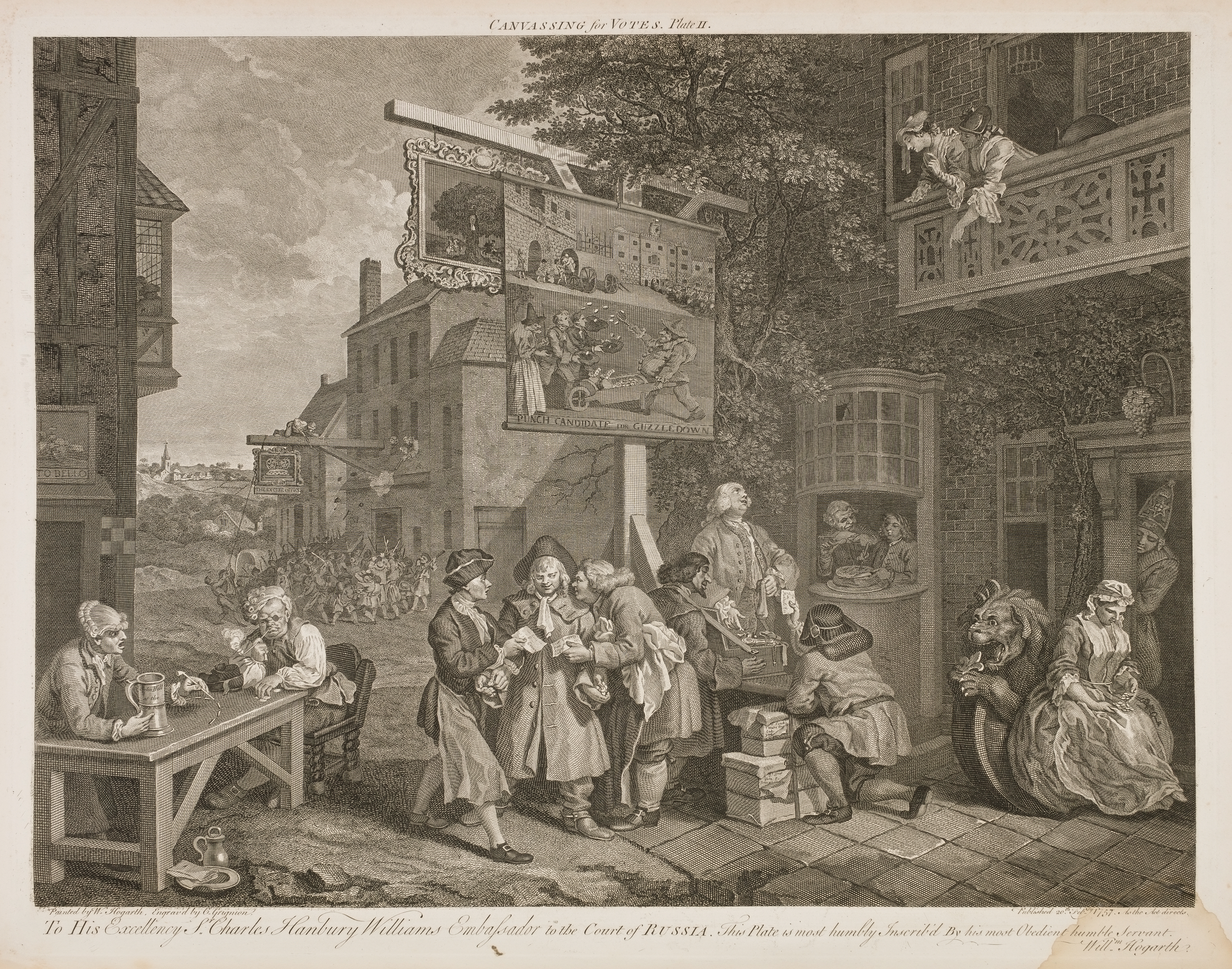 William Hogarth - Four prints of an election - Canvassing for votes