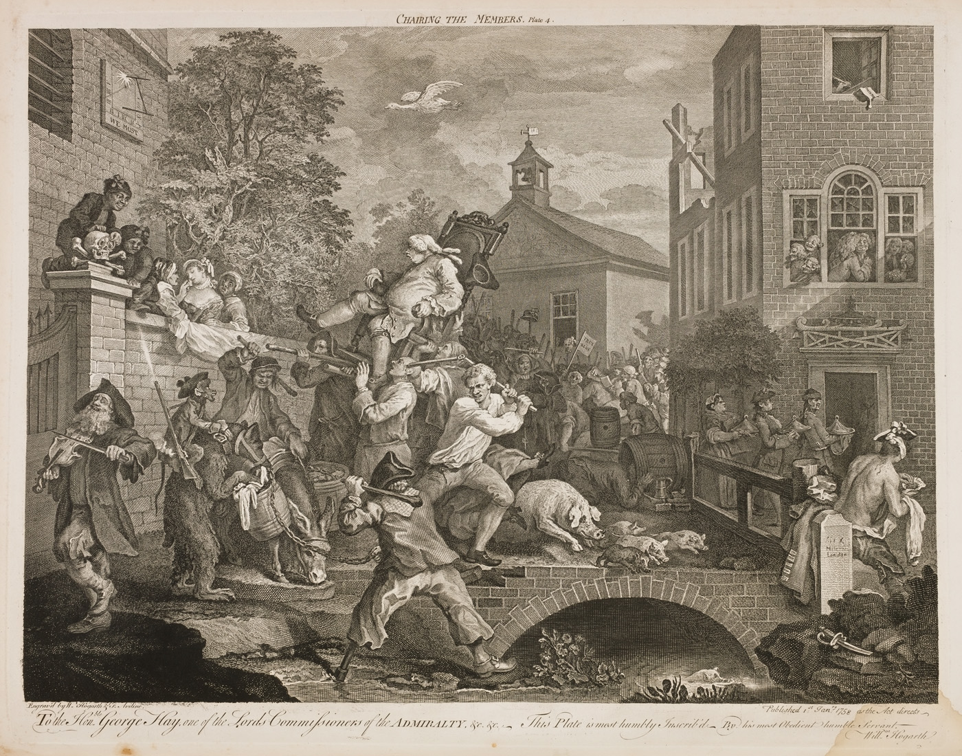 William Hogarth - Four prints of an election - Chairing the member