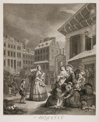 PLATE I. MORNING. The old Maiden Lady in this Plate is said to have been intended for the representative either of an intimate Friend, or a Relation of Hogarth; and it is added, that her intro- duction into the Print induced her to alter a will which had