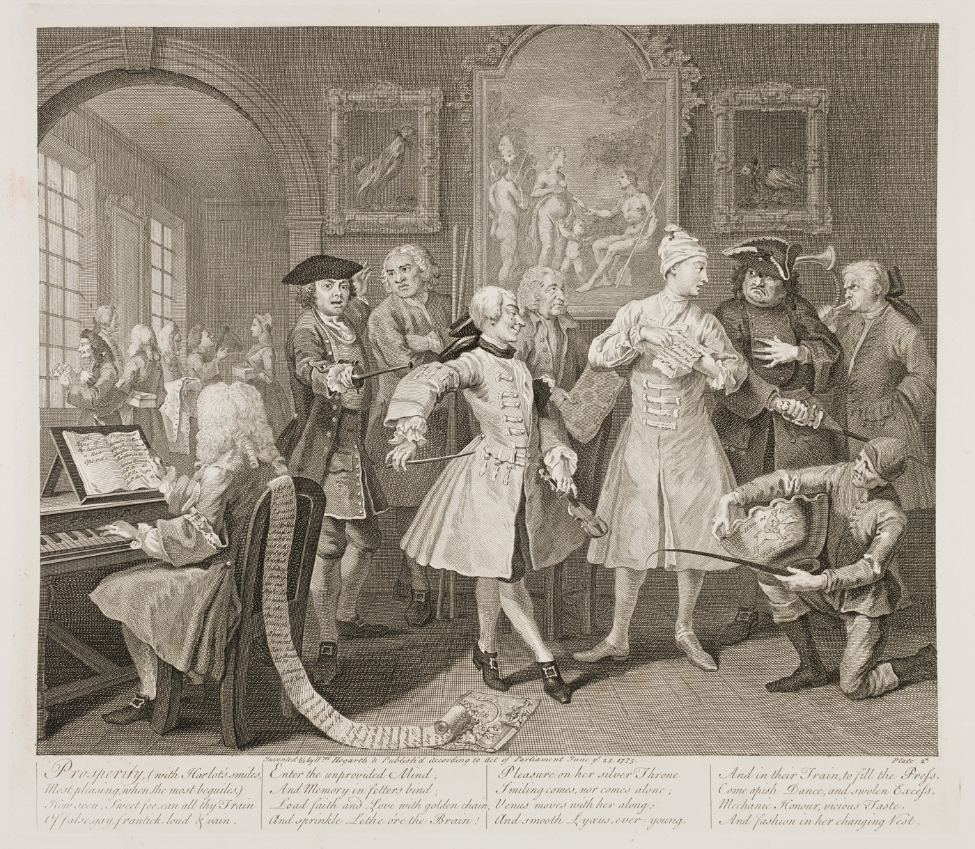 William Hogarth - The Rake's Progress plate 2