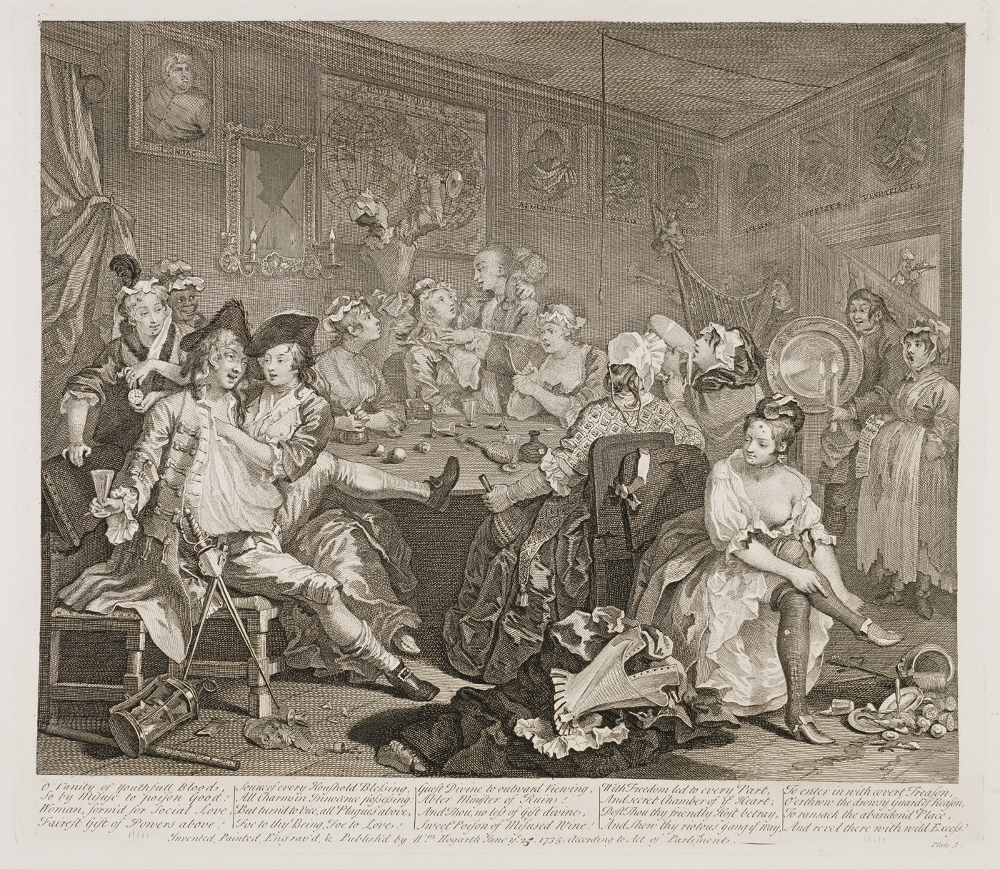 William Hogarth - The Rake's Progress plate 3