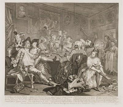 William Hogarth - The Rake's Progress plate 3