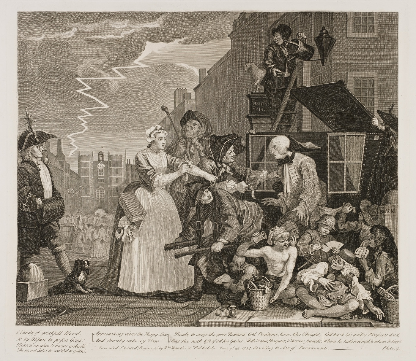 William Hogarth - The Rake's Progress plate 4