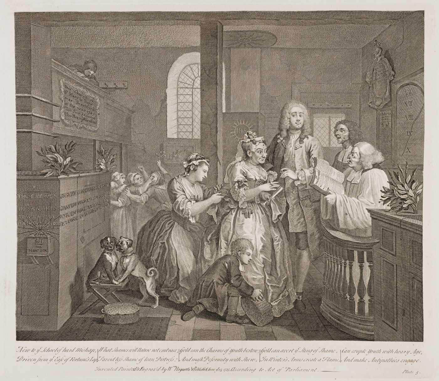William Hogarth - The Rake's Progress plate 5