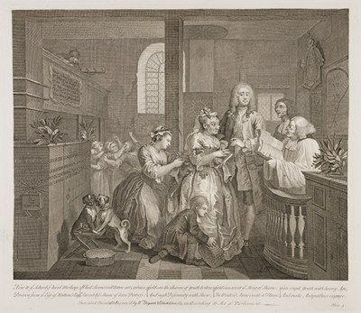 William Hogarth - The Rake's Progress plate 5