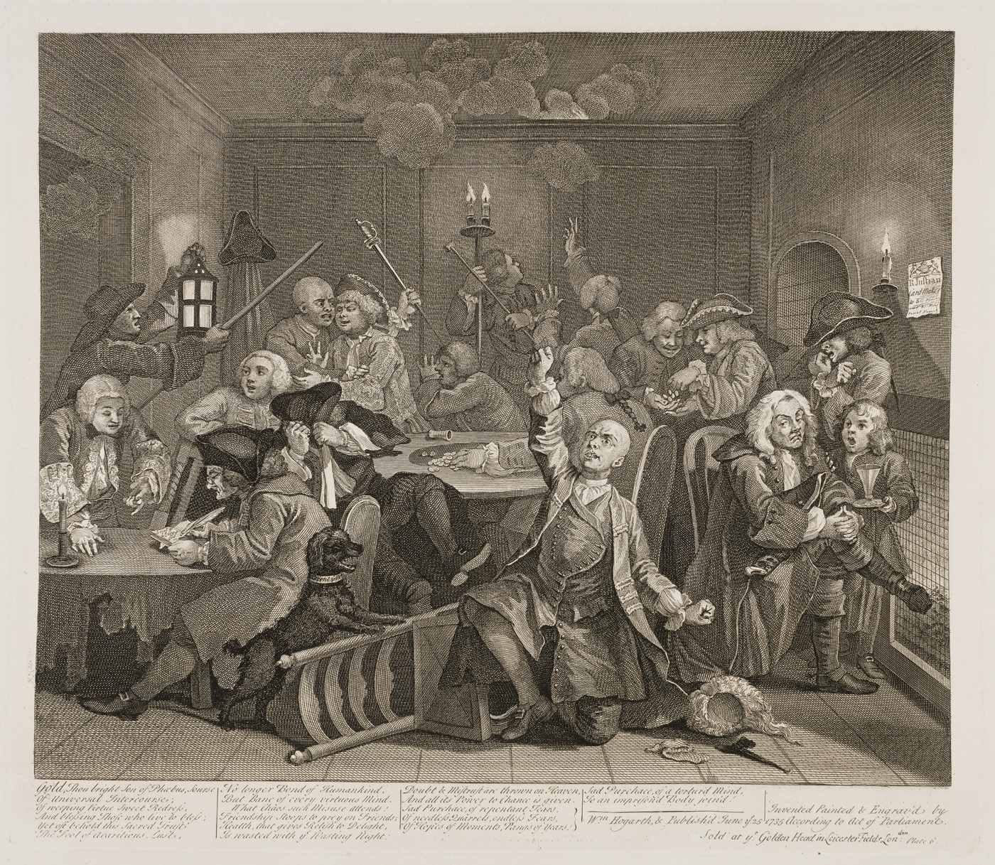 William Hogarth - The Rake's Progress plate 6