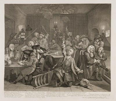 William Hogarth - The Rake's Progress plate 6