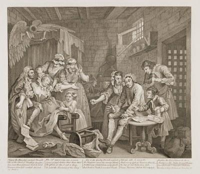 William Hogarth - The Rake's Progress plate 7