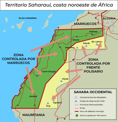 Territorio Saharaui, Costa Noroeste de Àfrica, https://www.esglobal.org/sahara-occidental-cambiar-algo-para-no-cambiar-nada/