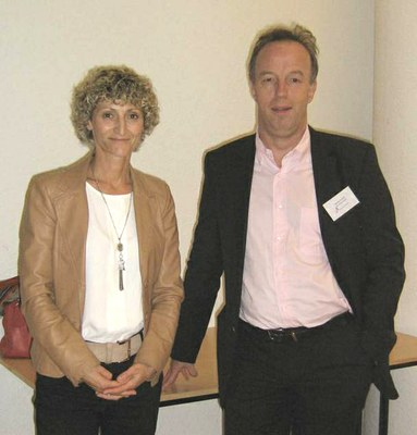 Brigitte CLOSS-GONTHIER et Vincent LAUDET,  Directeur de l'IGFL (Inauguration scientifique du 07/10/13)  © ENS de Lyon