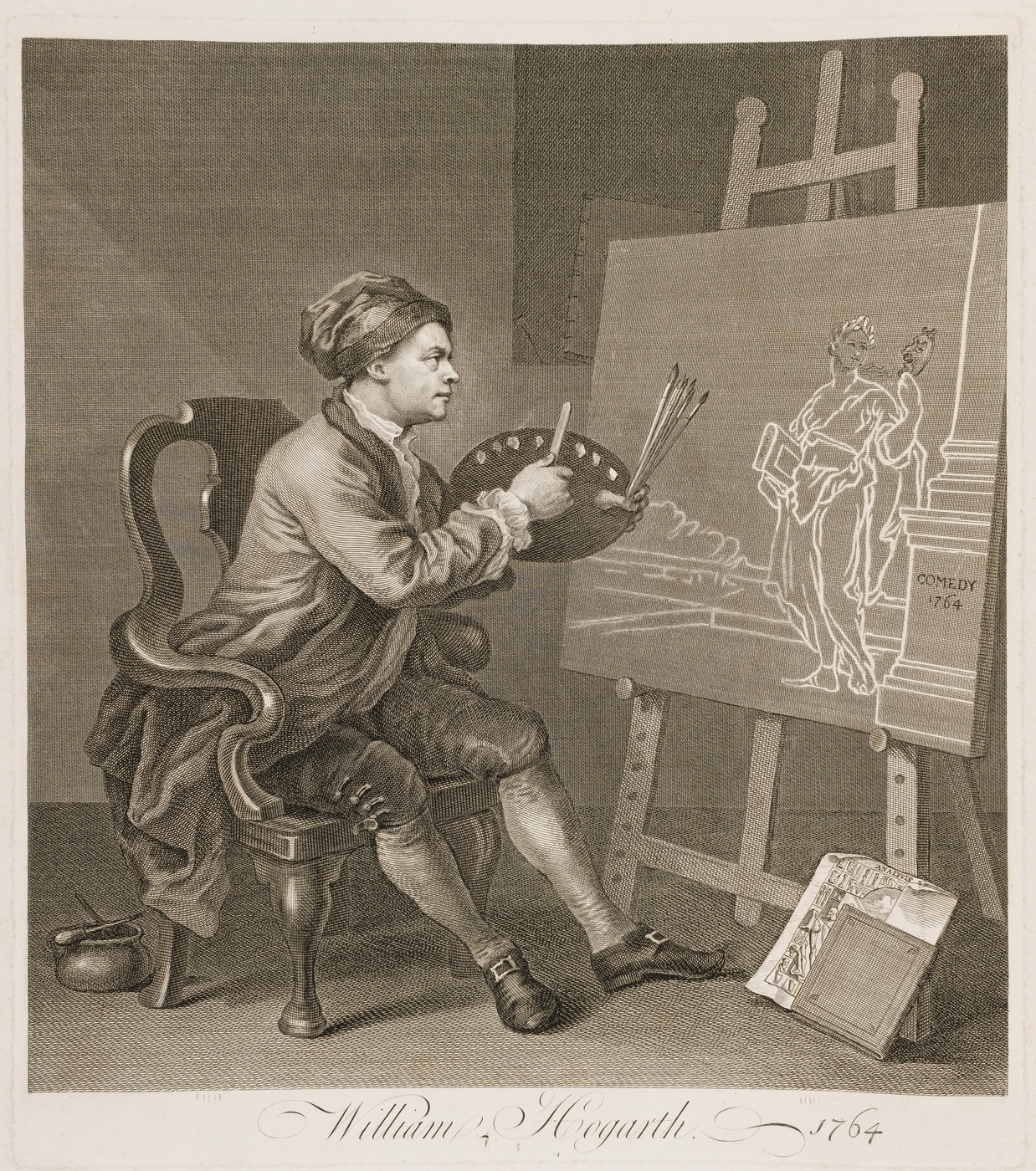 Portrait of Hogarth with the Comic Muse