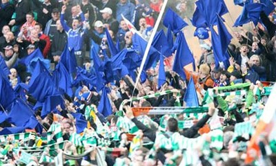 Celtic and Rangers fans taunt one another at an Old Firm game this year. Photograph: Carl Recine/Action Images