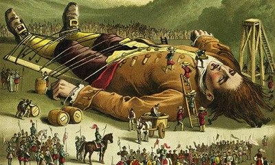 colour print from an 1860s edition of Gulliver's Travels