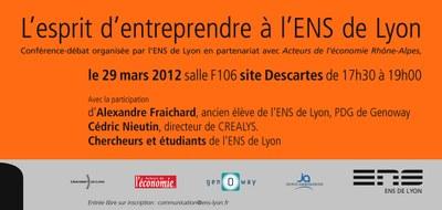 Invitation esprit d'entreprendre à l'ENS de Lyon