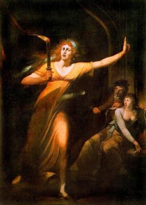 """""""The Sleepwalking Lady Macbeth."""" Painting by Johann Heinrich Füssli, 1781-1784"""