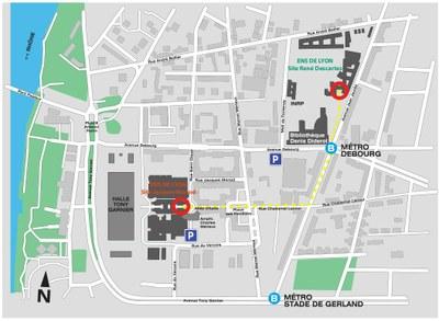 Plan d'accès aux deux sits de l'ENS de Lyon