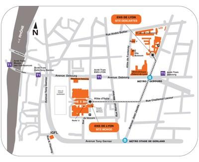 Plan d'accès général à l'ENS de Lyon