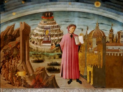 Domenico di Michelino, Dante con in mano la Divina Commedia, Firenze, Santa Maria del Fiore, 1465