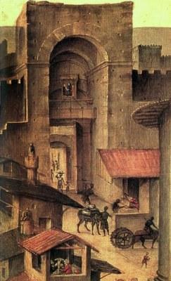 Filippino Lippi, La porta San Frediano (particolare della Pala Nerli), Firenze, fine XV