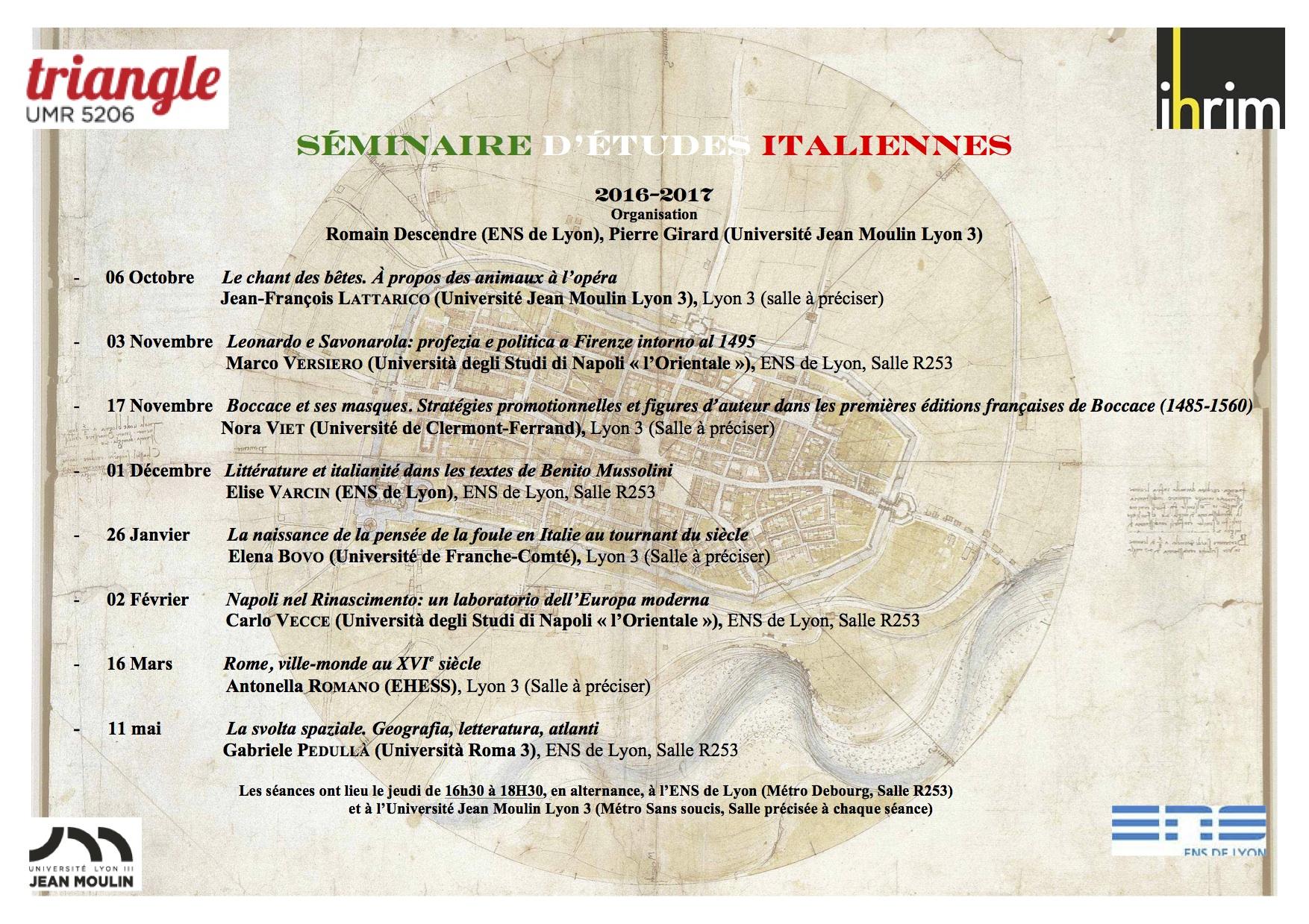 Séminaire études italiennes lyon